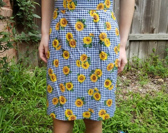 1970s 25 in waist sunflower skirt