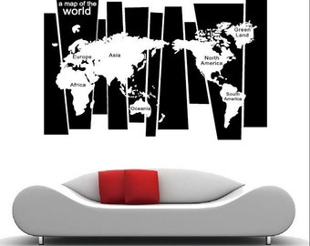 World Map Decal For Home , Retail , Or Office, Office Wall Decal, Home