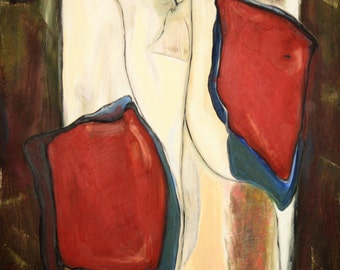 EdgeOfLifeArt- Abstract Oil Painting of Opposing Hearts in Red, Blue, Brown and White