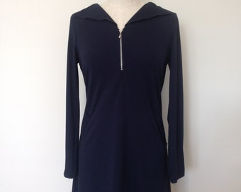 Jersey viscose winter dress with front zip