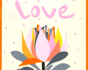 Love | Hand=painted illustration | 10x10 in