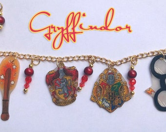 Hand Drawn Gryffindor Charm Bracelet