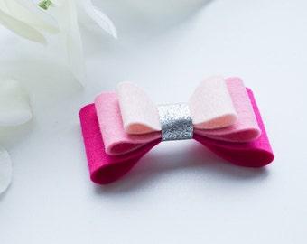 L O L A R A I N B O W • 100% Wool felt bow attached to headband/hairclip - babyshower/birthday/newborn present