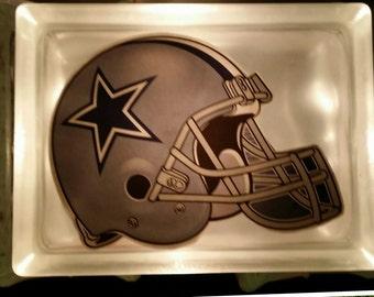 Small Dallas Cowboys Glass Block Lamp