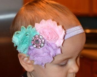 Pink, lavender and aqua baby headband, pink headband, lavender headband, aqua headband, newborn headband, toddler headband, infant headband