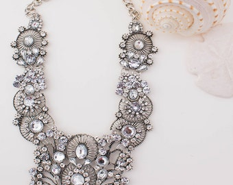 Clear Silver Statement Necklace