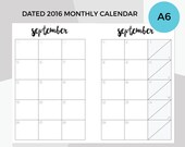 A6 Dated Monthly Calendar Planner Inserts Jan-Dec 2016| Printable, Digital Download | Kikki K, Filofax,