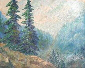 Antique oil painting impressionist mountain landscape