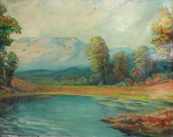 Antique oil painting impressionist mountain landscape lake