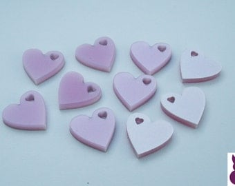 10, 25, 50 x Perspex Heart Charm Acrylic Candy Pink Pearlescent FREE SHIPPING
