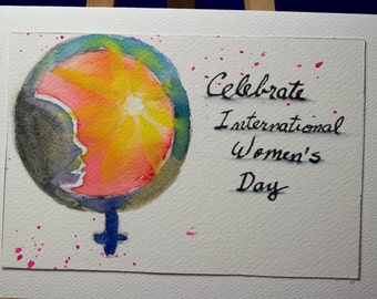 Greeting Card, Thank You, Blank Card, Original Watercolor Card, Hand Painted, International Women's Day