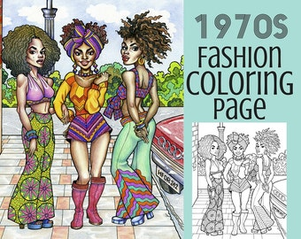 Coloring Page - 1970s Fashion Coloring Book - Printable Coloring Page
