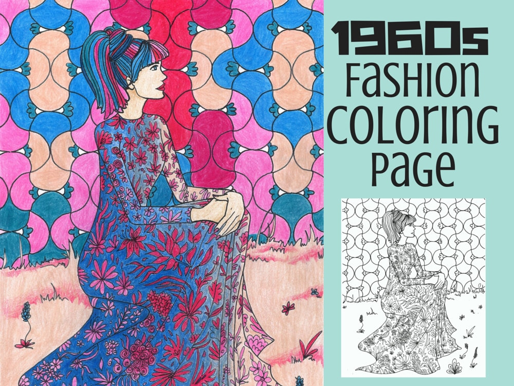 vintage coloring pages etsy - photo#8