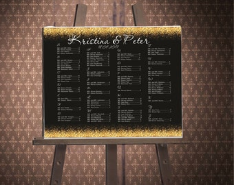 Black and Gold Seating Chart, Alphabetical Seating Chart, Digital File, Printable, Gold Sparkles, code-024-1