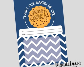 Thanks for Making Me One Smart Cookie Teacher Appreciation Printable Gift Card Holder INSTANT DOWNLOAD