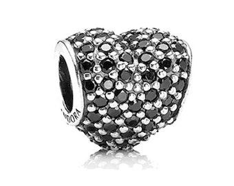 Authentic Pandora Pave Heart Black Czs Charm Bead