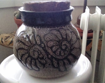 Pottery Pot with Cork signed by creator