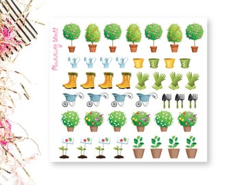 44 Gardening Planner Sticker, Plants, Seeds, Watering Can Stickers//Fast Shipping//D008