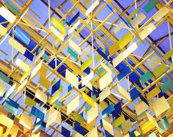Design Colors Shapes Wall Art Installation Ceiling Upwards Abstract Photograph Birds Squares Pattern Angles Geometry Picture