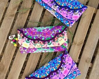 Pouch ethnic, Boho, Hippie, - the DIAPRASSA - colored decorated