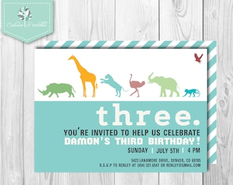 Animal Silhouette Modern Jungle Safari Printed Birthday Invitation with Envelopes (14 colors)