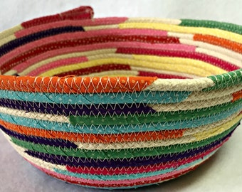 Rope Basket/Bowl with Fabric Wrap