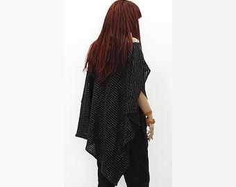 Black Knit Poncho / NEW Autumn 2016  / Extravarant Knit Asymmetrical  Poncho / Autumn Poncho