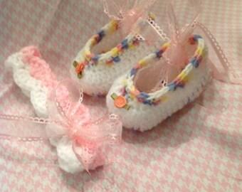 Crochet Baby Ballerina Slippers and Headband
