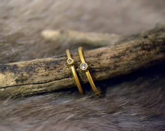Medium Champagne Diamond Rings - 24k Gold