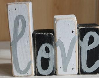 Word Block. Wood Block. Love. Home Decor. Rustic.