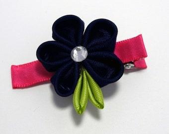 Navy & Pink Flower Hair Clip