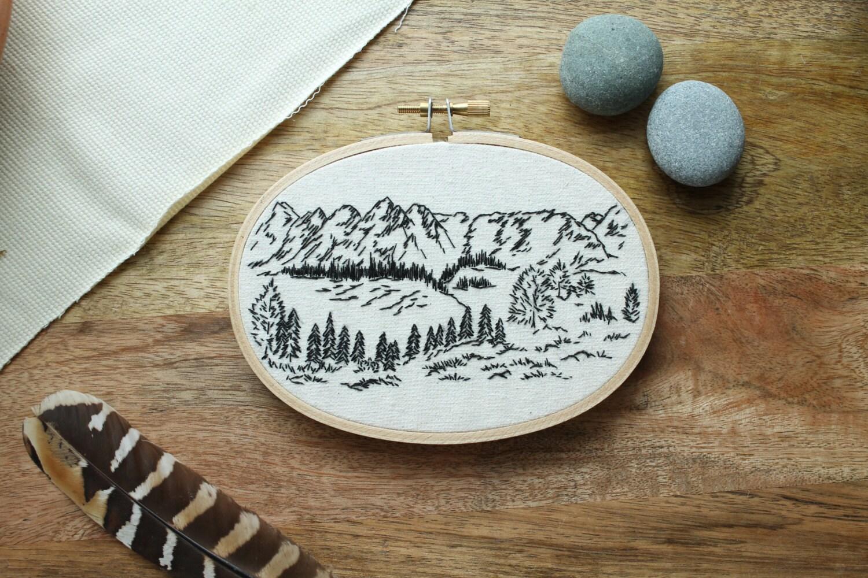 Mountain Hoop Art Mountain Embroidery Embroidery Art Earthy