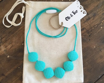 Chic Simple Fun Teething Necklace, Silicone BPA Free necklace, Teether Mints