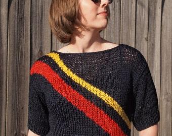 1980s Crochet Navy Top