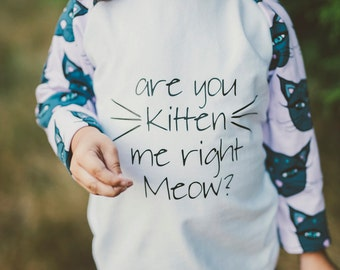 Are you Kitten Me Right Meow Raglan Shirt For Babies, Toddlers, and Children
