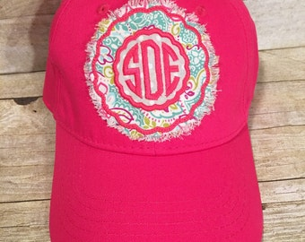 Monogrammed raggy patch hat, baseball hat, cap, hot pink, embroidered