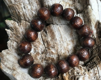 buddha bracelet, wood bead bracelet mala stretchy bracelet