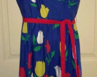 Vtg 1970s Multi-Colored Large Tulip/Floral Pattern Jenni Sundress Sz 11/12