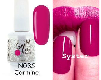 SYSTER 15ml Nail Art Soak Off Color UV Lamp Gel Polish - Color N035 - Carmine - Free Shipping