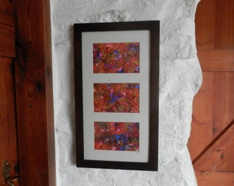 original abstract triptych painting vivid red