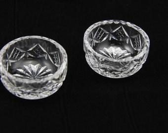 """Tudor crystal full lead crystal 2"""" small dishes tea light holders"""