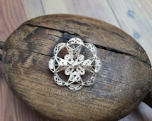 Pretty Vintage Sterling Silver Filigree Brooch, With A Maltese Cross Design