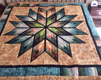Handmade  Quilt-Gold Prismatic Star Full Double Size