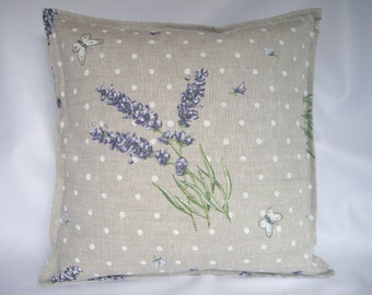 Lavender floral and polka dot cushion cover.