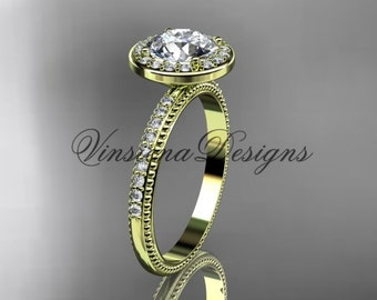 "14k yellow gold engagement ring, ""Forever One"" Moissanite VD10077"