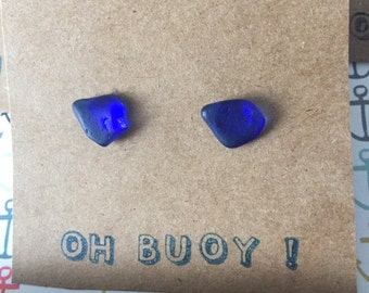 Rare Blue Seaglass Stud Earrings