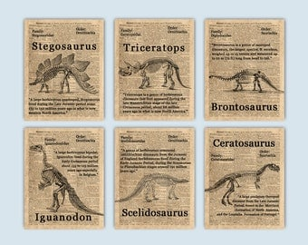 Dinosaur Decor, Dinosaur Nursery, Dinosaur Party, Dinosaur Poster, Dinosaur Print, Dinosaur Wall Art, Kids Room Decor, Set of 6 Prints