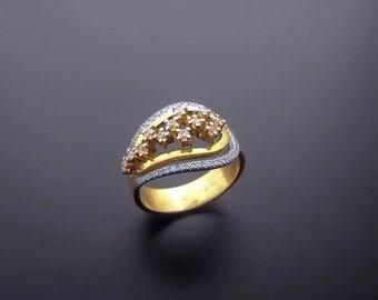 VA003,Diamond Ring,  14k Yellow Gold,  14k White Gold