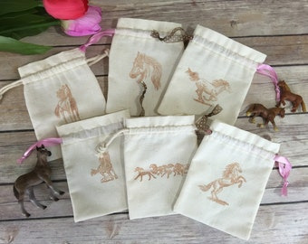 Equestrian Horse Party Favor Bag Hand Stamped -  Cowgirl / Cowboy Reusable Drawstring - Cotton Muslin for gifts, treats, jewelry and more!