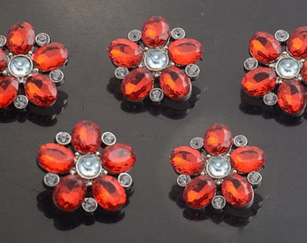 Red Flower Rhinestone Buttons Acrylic Rhinestone Buttons Starburst Rhinestone Buttons Coat Buttons Fashion Buttons 25mm 3341 3R